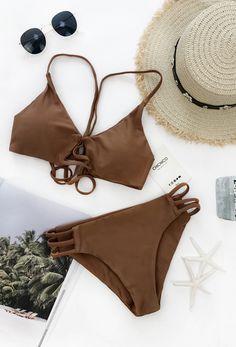 $19.99 Chicnico Sexy Bikini Brown Swimsuit Top and Bottom Bikini Set