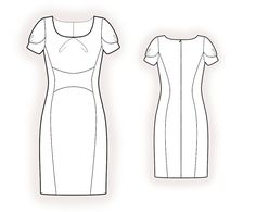 Dress With Inset  - Sewing Pattern #4375 Made-to-measure sewing pattern from Lekala with free online download. Fitted, Princess seams, Insets, Pleats, Gathers, Zipper closure, U neck, No collar, Short sleeves, Set-in sleeves, Knee length, Straight skirt, No pockets