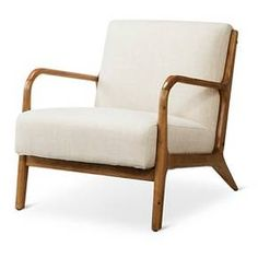 The smooth mid-century modern Rodney Wood Arm Chair - Threshold beckons you. Come and have a seat on the firm cushion with the sturdy backrest after a hard day's work—or playing with the kids. The wide seat and wood armrests make it even more relaxing. Perfect for the living room, family room or man cave.
