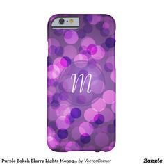 Purple Bokeh Blurry Lights Monogram Phone Case Barely There iPhone 6 Case