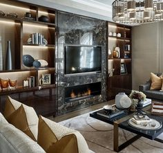 Clever and Stylish Living Room Storage Ideas Office Interior Design, Interior Design, House Interior, Fireplace Design, Luxury Living Room, Stylish Living Room, Bookshelves In Living Room, Wallpaper Living Room, Luxury Interior