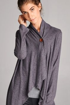 One-Button Cardi-Shawl in Charcoal
