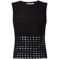 T By Alexander Wang circular hole top ($168) ❤ liked on Polyvore featuring tops, black, sleeveless tops, circle top, t by alexander wang and ribbed top