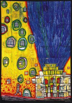 Paintings - Hundertwasser WATER FIRE 1991 VENIE Begun in a high-rise in Bangkok; I just turned the water into fire and the fire into water. Burning water is put out with fire. Friedensreich Hundertwasser, Klimt, Modern Art, Contemporary Art, Yellow Painting, Sculpture, Famous Artists, Art And Architecture, Love Art