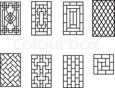 Stock vector of 'Set of Chinese pattern window frame, vector' Home Window Grill Design, Grill Gate Design, Iron Window Grill, Window Grill Design Modern, Balcony Grill Design, Door Gate Design, Room Door Design, House Front Design, Window Design
