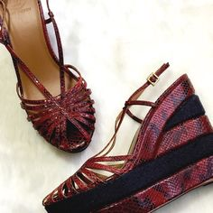 NWOT Tory Burch Snakeskin Wedge Sandals These are so much happening right now! Great nautical color scheme, 50s toe details and ankle straps with buckles. Near perfect condition, soles as shown, some came off when price was removed. Tory Burch Shoes Wedges