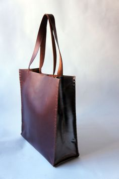 Heavy Leather Tote Havana Brown Unisex by stitchandtickle