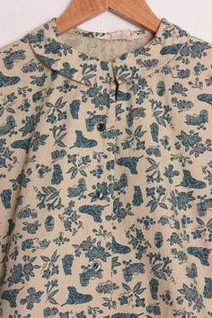 Vintage 60s Fall Novelty Print Blouse in Deep Teal & Camel Cotton