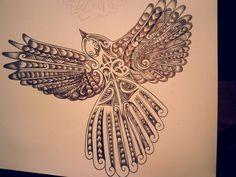 Fantail with koru New Zealand Tattoo, New Zealand Art, Ma Tattoo, Tattoo Art, Back Tattoos For Guys, Bird Sketch, Maori Tattoo Designs, Maori Art, Kiwiana