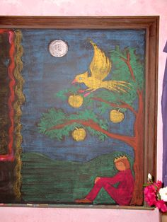Waldorf ~ 1st grade ~ Language Arts ~ Fairy Tales ~ The Golden Bird ~ chalkboard drawing