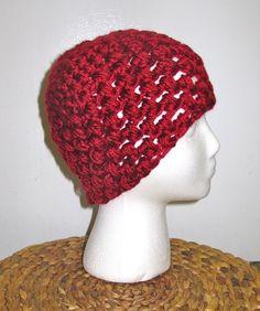 Crochet Beanie: maroon