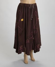 Look what I found on #zulily! Brown Stone Wash Embroidered Handkerchief Skirt - Plus by Rising International #zulilyfinds