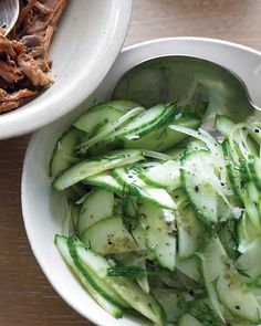 Cucumber and Sweet-Onion Salad- so fresh! I'm serving this with pulled pork sandwiches. YUM!