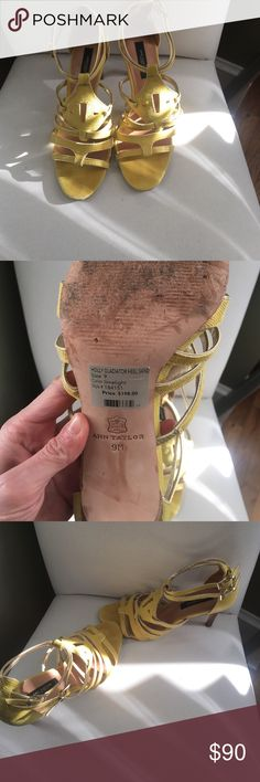 """Ann Taylor gladiator heel sandal BEAUTIFUL Ann Taylor gladiator heel sandal! Worn to one wedding and were taken out of my closet to list here! These are unreal shoes! Gorgeous! Lemon yellow/""""lime greenish""""-but way more yellow than green! Ann Taylor Shoes Sandals"""