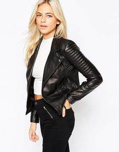 Oasis | Oasis Leather Biker Jacket at ASOS
