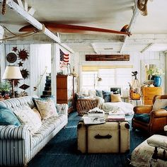 "Ralph Lauren Home Archives, ""Hither Hills"" Living Room, 2007; ""A weathered oceanfront retreat with an inviting, free-spirited vibe echoes its seaside surroundings with shades of indigo and a natural material palette"""