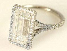 Stunning F/VVS2 - 2.00 carats total - GIA certified Emerald Cut Diamond engagement ring - Handmade - 14K white gold - Bph027