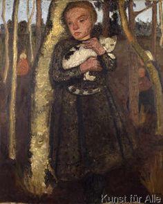 Paula Modersohn-Becker - Mädchen im Birkenwald mit Katze