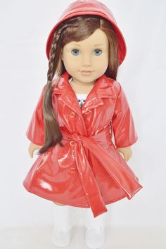 Brittany's - RED RAINCOAT WITH BELT FOR AMERICAN GIRL DOLLS, $14.99 (http://www.mybrittanys.com/outerwear/red-raincoat-with-belt-for-american-girl-dolls/)