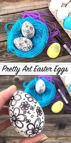 make your own drawing art Easter Eggs - tutorial by Jen Goode
