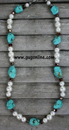 Pearl, Brown Crystal and Turquoise Nugget Necklace www.gugonline.com $26.95