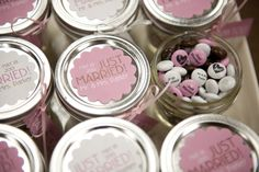 Wedding favors can be as personal and beautiful as your wedding. Check out these personalized chocolate candies from #mymms #wedding