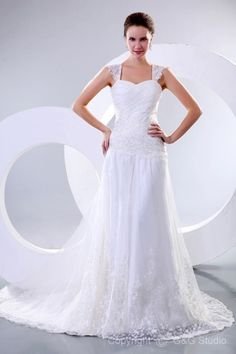 White Lace-up Natural Sleeveless Floor-length A Line Wedding Dresses
