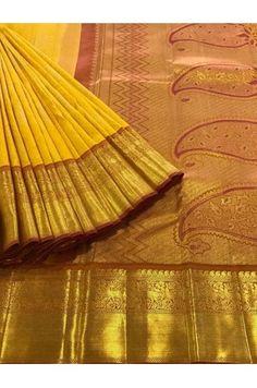 Yellow Kanjeevaram Silk Saree With a Classic Zari Border Product Code: AC210057 Price: ₹11,300 #Wedding #Kanchipuram #Kanjivaram #Kanjeevaram #Designersarees #Ethnicwear #Exclusivedesign #India # Saree fashion #Sari #Beautiful Saree #wedding #bridalwear #indianwedding #designer #bridal #desi #indianfashion #partywear #ethnic #sarees #onlineshopping Sarees #indianbride #indianwear #Saree love #uk #usa # canada #traditional #gorgeous #bride #elegant