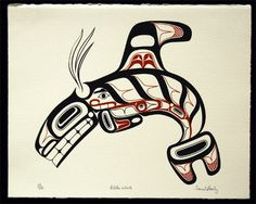 """Killer Whale"" Signed and numbered Limited Edition Print by David Boxley, a Tsimshian Alaskan Artist from Metlakatla, Alaska Arte Haida, Haida Art, Native Art, Native American Art, Linocut Prints, Art Prints, Block Prints, Haida Tattoo, Hispanic Art"