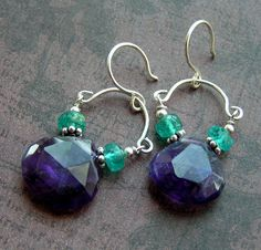dangling from handmade sterling french earhooks stunning lg hand-faceted grape amethyst heart briolettes matched with pairs of faceted apatite rondelles and sm bali sterling beads each carefully hand-wired in fine sterling (entire length about 1 1/2in including earwire)