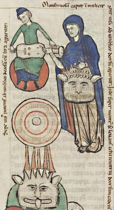 Universitätsbibliothek Heidelberg, Cod. Sal. X,16, detail of f. 177r (the head of Antichrist sprouting from the loins of the virgin Ecclesia). Hildegard of Bingen, Liber Scivias. Late 12th century to c. 1220.
