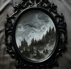 Great idea get mirror shaped like this and print out a macabre, haunted scene and put on top of mirror section