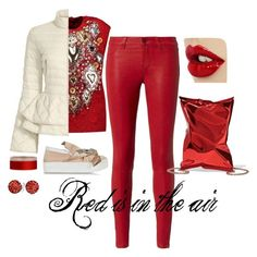 """""""Red is in the air"""" by calihotgirl1 on Polyvore featuring L'Agence, Dolce&Gabbana, Elizabeth Roberts, N°21, Anya Hindmarch and Bling Jewelry"""