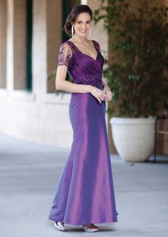2015 V-neck Beading Short Sleeves Satin Lace Purple Tea Length Mother of the Bride Dresses MBD7841