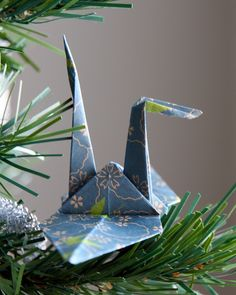 Origami crane my brother made as a decoration for our 2010 Christmas tree.