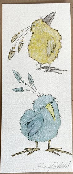Original+watercolor+and+ink+painting+Bird+Pair+by+BirdsInPants