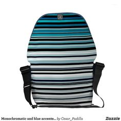 Monochromatic and blue accented horizontal lines messenger bag