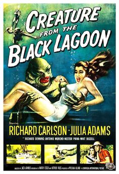 Creature From the Black Lagoon - Home Theater Decor - Horror Monster Movie Poster Print  13x19 - Vintage B Movie Poster - 50s kitsch