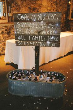 no seating plan wedding sign and wedding drink bar