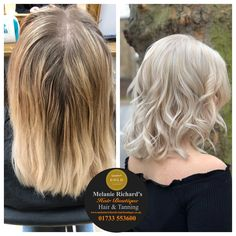 Highlights to full head blonde 🙋🏼‍♀️☀️ this beautiful finished look took 6 hours of precise lightening by our Master Colour Experts. #colourcorrection #blonde #coolblonde #pearlblonde #bob #shorthair #waves #bleach #wella #colour #olaplex #silvershine #platinum