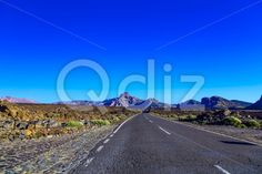 Qdiz Stock Images Landscape with Road on Tenerife Island,  #asphalt #blue #Canary #day #island #landscape #mountain #nature #road #rock #sky #Spain #spring #summer #Tenerife #Travel #way