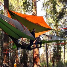 The orange connect tree tent by Tentsile is a 2 person hanging tent that doubles as a ground tent if trees aren't accessible.
