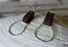 LEATHER - upcycled leather sterling silver orgain brushed hoops west coast style