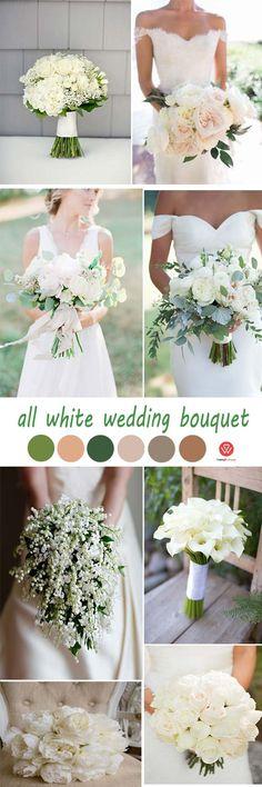 5 Vintage All White Elegant Wedding Ideas From Pinterest You Can Learn elegant wedding bouquet/ rustic wedding ideas