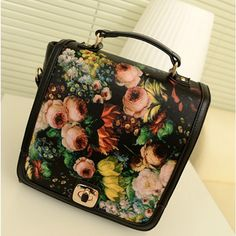 Charming and Alluring Hasp Design and Floral Oil Painting Print  PU Backpacks