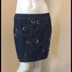 Spotted while shopping on Poshmark: Escada Denim Metal Ring Detail Skirt Pre Owned! #poshmark #fashion #shopping #style #Escada #Dresses & Skirts