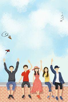 Friends Illustration, Indian Illustration, People Illustration, Character Illustration, Girls Characters, Cartoon Characters, Friendship Wallpaper, Art Classroom Decor, Student Images