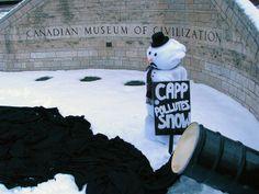 """CAPP pollutes Snow"", Snowperson protesting Canadian Association Petroleum Producers (CAPP) sponsoring the Museum of Civilization's snow exhibit. Exhibit, Climate Change, Civilization, Museum, Snow, Outdoor Decor, Museums, Eyes"