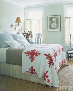 Hamptons bedroom by Jeffrey Bilhuber..from Elle Decor