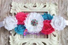 Hot Pink, Turquoise Maternity Sash- Baby Shower- Newborn Photo Prop- Flower Girl Sash- Bridal Sash- Belly Band- Gender Reveal